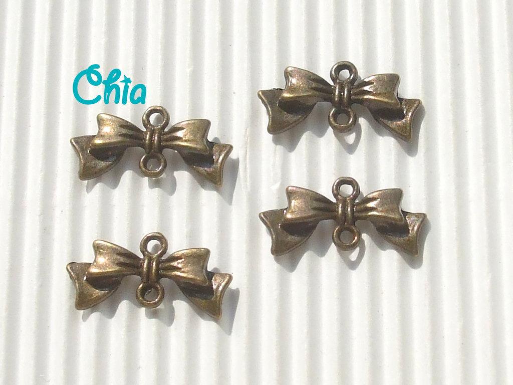 12 charms connettori link fiocchetto bronzo