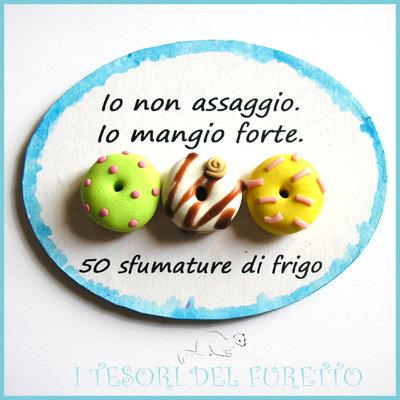 """Magnete da Frigo """"Aforisma su dieta e cibo"""" frasi simpatiche idea regalo fimo cernit kawaii calamita azzurro"""