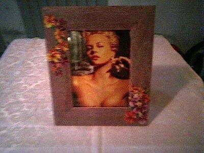 Portafoto viola con fiori