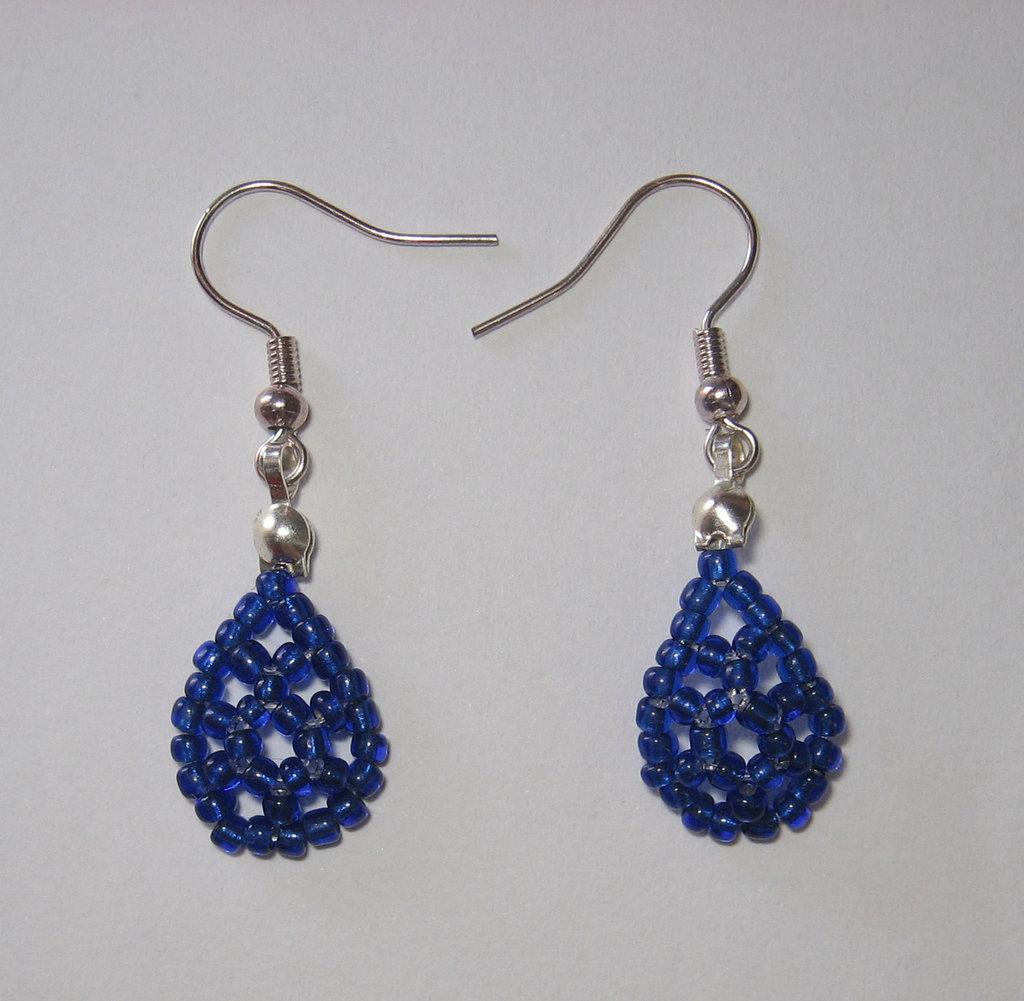 Orecchini goccia blu monachelle argentate