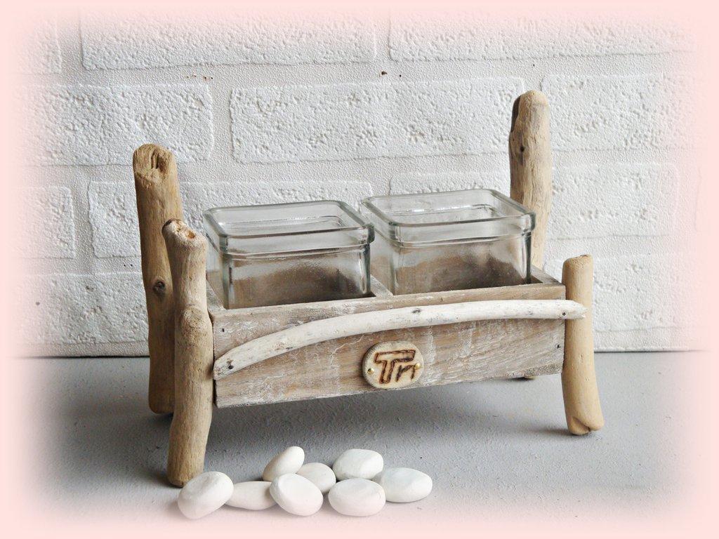 """""""DUO'"""" vasetti vetro con legni di mare"""