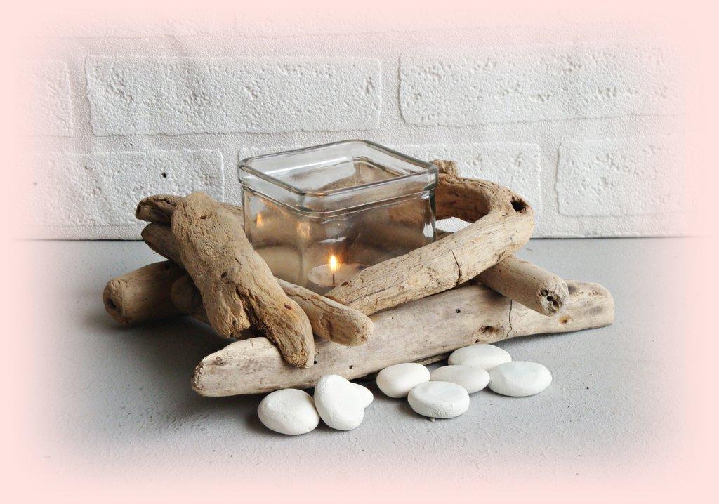 """"""" MONO' """" vasetto vetro con legni di mare"""