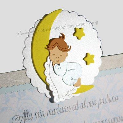 Targhetta con bimbo che dorme sulla luna  - regalo bomboniera madrina padrino Battesimo