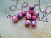 12 Perle in vetro 8mm - blu rosa