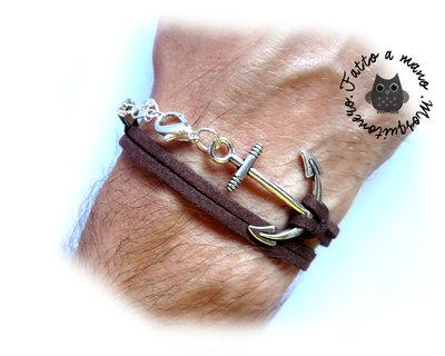 Bracciale uomo ANCORA corda nautico pelle scamosciata braccialetto marinaio ANCHOR SILVER wrap
