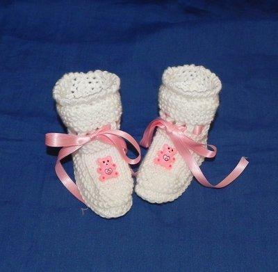 Scarpette bianche neonato con orsetti