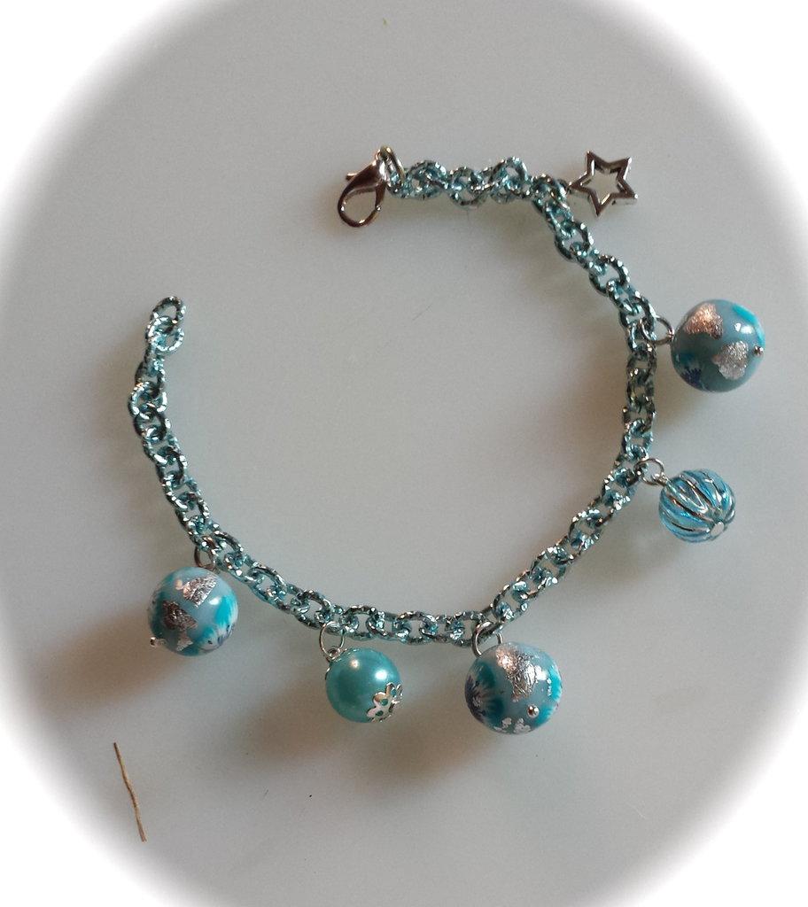 """Bracciale """"oceano"""" con perle in fimo  e stella"""