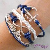 Bracciale multifile blu navy in corda con ancora, cavalluccio, infinito e treccia