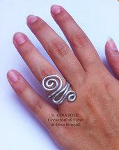 Anello in alluminio con spirali in filo wire