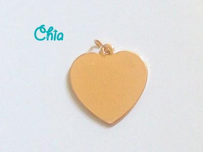 1 charm cuore piatto dorato 29x30mm