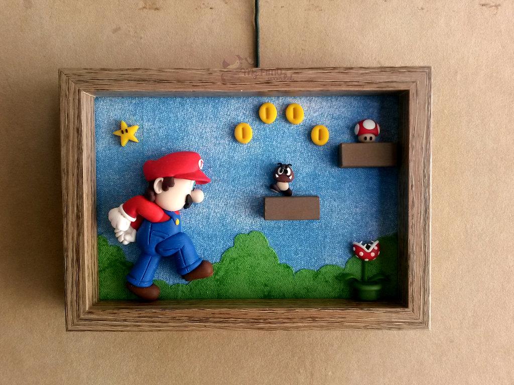 Quadretto-cornicetta con Super Mario fimo