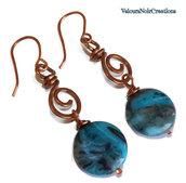 Orecchini spirali in rame e agata crazy lace azzurra
