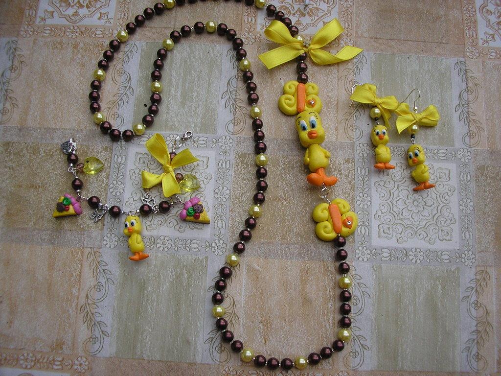 parure collana bracciale orecchini tweety necklace bracelet earring