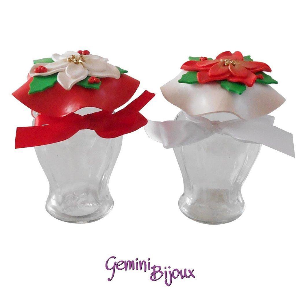 """Vasetto Pot in vetro decorato in fimo """"Stelle di Natale"""""""