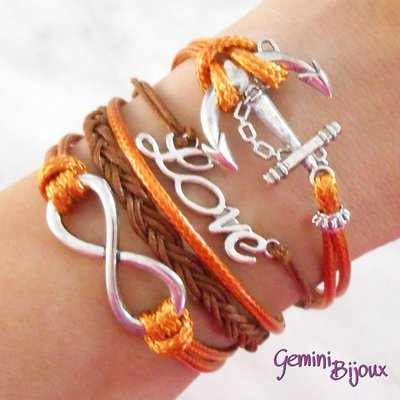 Bracciale multifile arancio e marrone in corda con ancora, love, infinito e treccia
