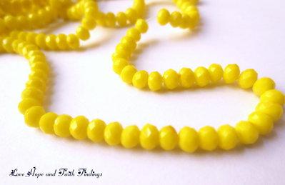 LOTTO 10 perle in vetro sfaccettate GIALLO (3,5 mm)  (cod.58818)