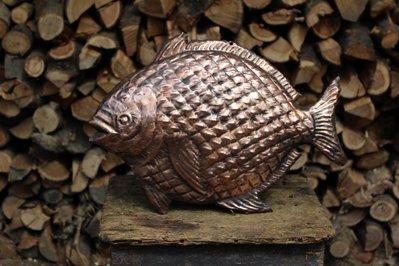 Pesce palla animali mare da parete in rame lavorato a mano