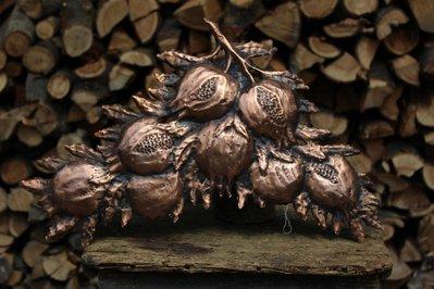 Melograno portafortuna ritaglio parete in rame lavorato a mano