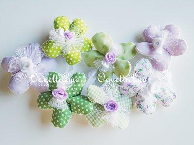20 Fiori portaconfetti in cotone a quadretti,pois e fiori glicine, celesti e verdi: una soluzione shabby chic per i vostri confetti!