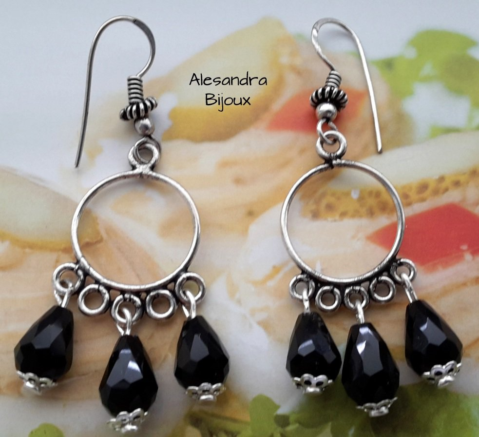 Orecchini argento gocce nere