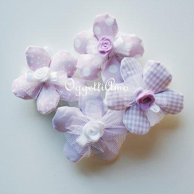 50 Fiori porta confetti in stoffa a pois, quadretti e fiori glicine: una soluzione shabby chic per le vostre bomboniere!