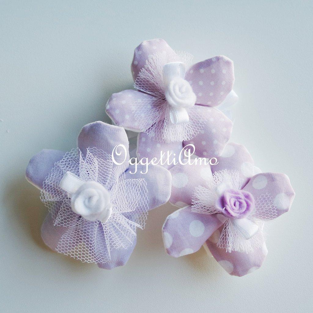 100 Fiori porta confetti in stoffa a pois, quadretti e fiori glicine: una soluzione shabby chic per le vostre bomboniere!