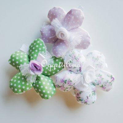 100 Fiori porta confetti in stoffa a pois, quadretti e fiori multicolore: una soluzione shabby chic per le vostre bomboniere!