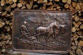 Quadro cavalli contadino aratura in rame lavorato a mano