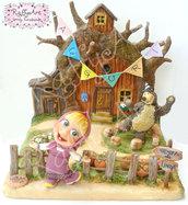 """Cake-topper bambini """"Festa con Masha a casa di Orso"""" (personalizzabile)"""