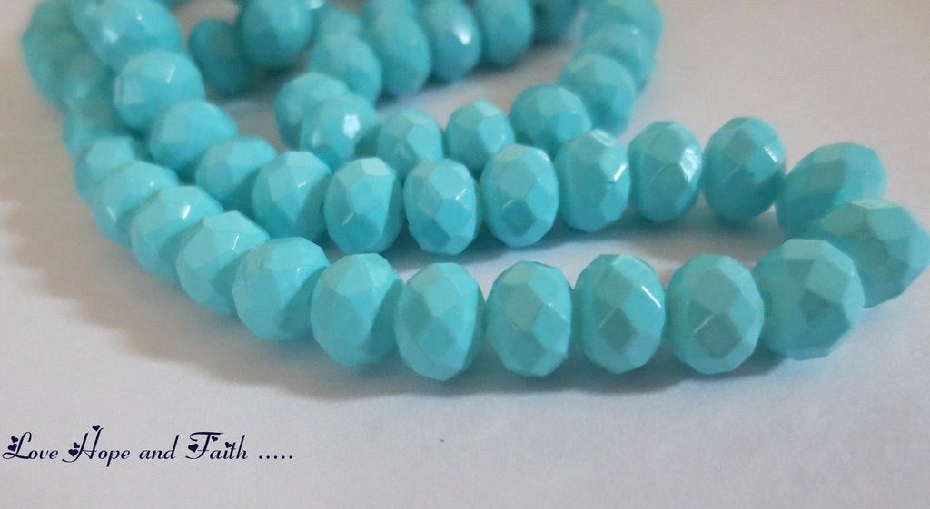 LOTTO 10 perle in vetro sfaccettate TURCHESE (6 mm)  (cod.058069)