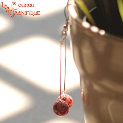 O.19.2015 - Orecchini pendenti con perle rosse - Linea Calder