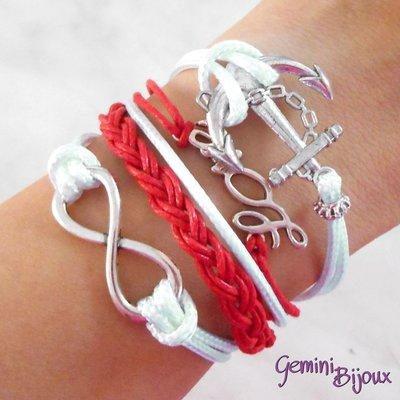 Bracciale multifile bianco e rosso in corda con ancora, love, infinito e treccia