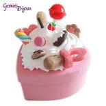 Bomboniera battesimo o comunione, scatolina per bimba/ragazza decorata fimo e silicone dolcetti
