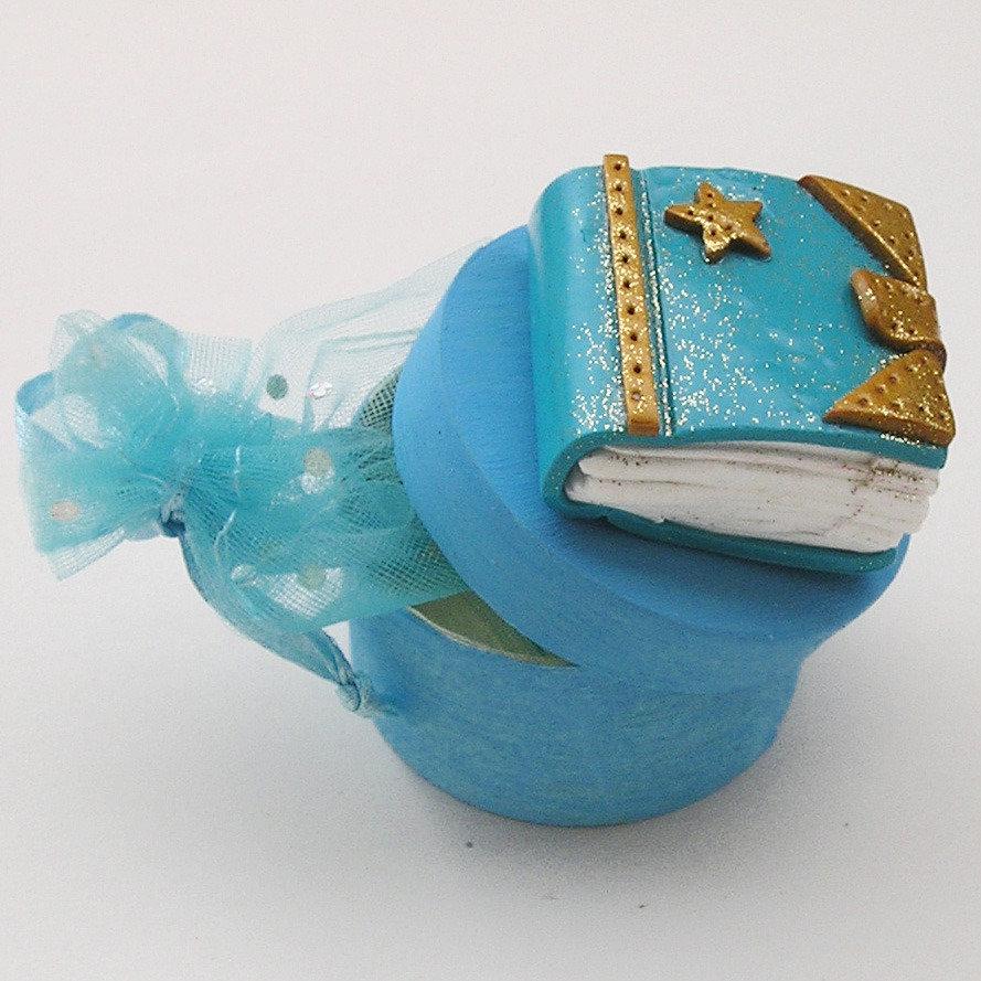 Bomboniera battesimo/comunione bimbo, in fimo con scatola porta confetti