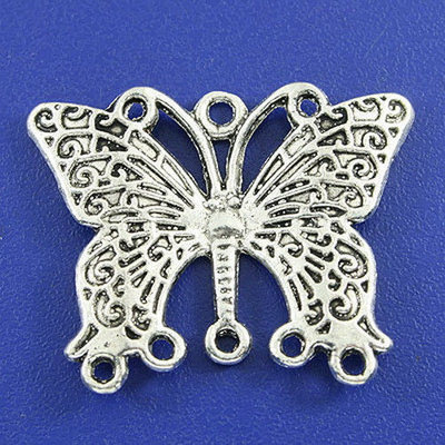 Connettori chandelier farfalla argento antico 4 pz