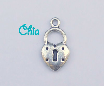 6 charms lucchetto cuore 20x10mm