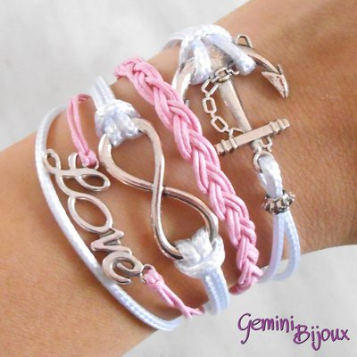 Bracciale multifile bianco-rosa in corda con ancora, love, infinito e treccia