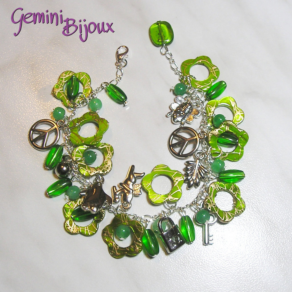Bracciale fiori verdi madreperla gioielli bracciali e for Fiori verdi