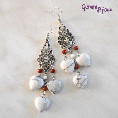 Orecchini chandelier cuori di howlite e diaspro rosso