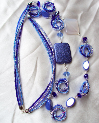 "Collana perline ""Deep blue"""