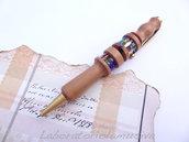 Penna in legno di pero con inserti in mosaico