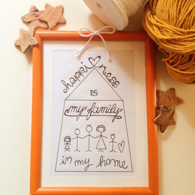 """Quadretto con handlettering e illustrazioni naïf """"My Family"""""""