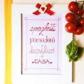 """Quadretto handlettering """"Spaghetti lover"""""""