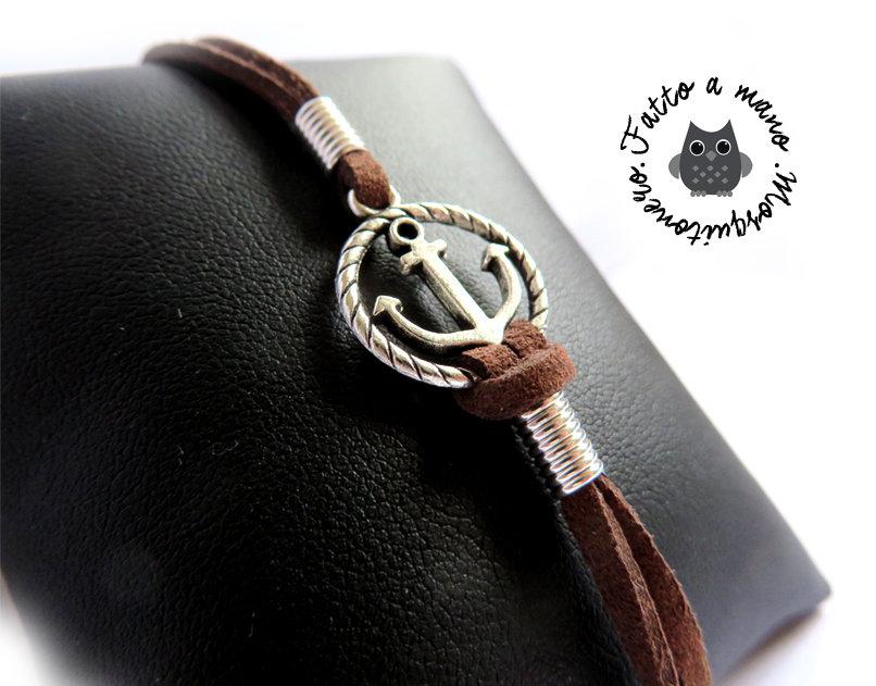 Bracciale nautico UOMO Ancora & Corda anchor mare braccialetto pelle argento