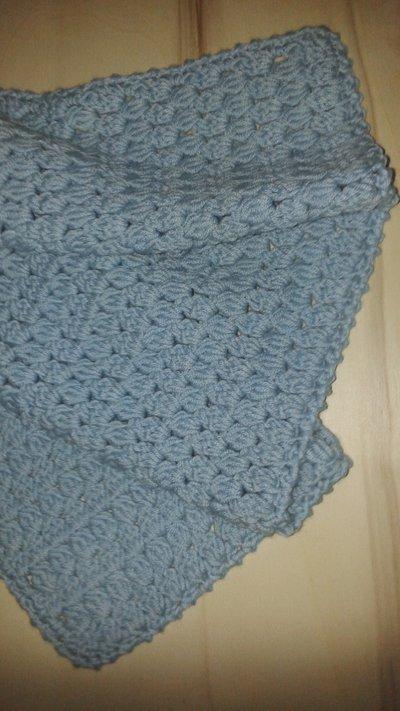 Copertina per culla o carrozzina azzurra in pura lana all for Culla azzurra