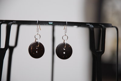 Orecchini bottone in cocco