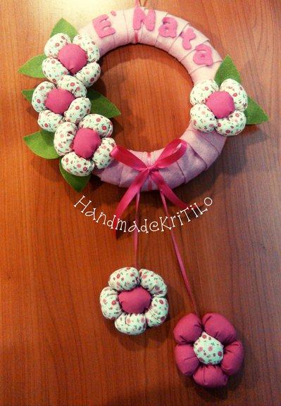 corona nascita con fiori Handmade KriTiLo