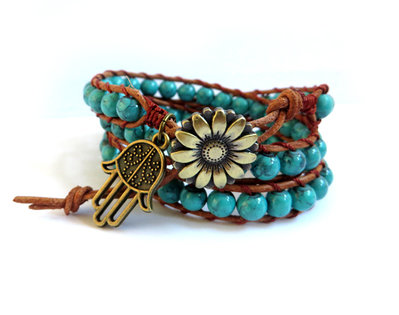 Bracciale Wrap bracelet mychau 3 giri Chan Luu Style donna pietra Turchese cuoio naturale