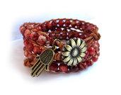 Bracciale Wrap bracelet mychau 3 giri Chan Luu Style donna pietra Rosso cuoio naturale