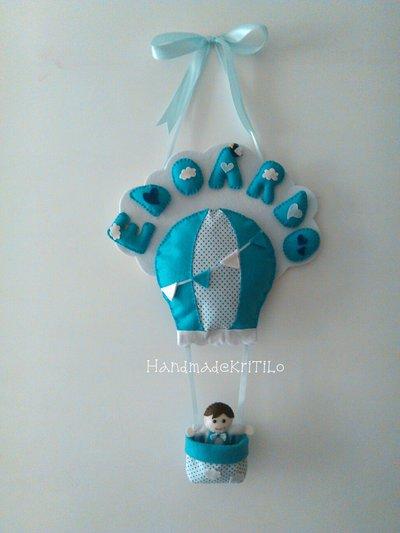 Fiocco nascita nuvola con mongolfiera Handmade KriTiLo